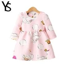 2-6 Years Little Girls Dress Nine Point Sleeves Mini Goose Print Kids Dress Children Clothes Cotton Spring Autumn 3 4 5