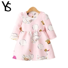2-6 Years Little Girls Dress Nine Point Sleeves Mini Goose Print Kids Dress Children Clothes Cotton Spring Autumn 3 4 5