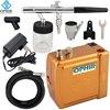 OPHIR Free Shipping 0 35mm Dual Action Airbrush Kit 12V Golden Mini Airbrush Compressor Nail Art