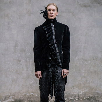 Devil Fashion Gothic Palace Wind Gentleman Dress Swallowtail Jackets Steampunk High Collar Ruffled Coats Party Outerwear