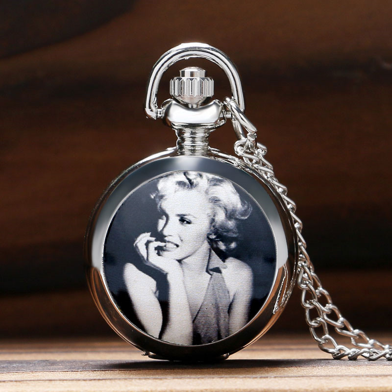 Marilyn Monroe Oomph Pocket Watch Glossy Silver Locket Slim Chain Elegant Sweater Necklace Women Ladies Girls Clock Refined Gift