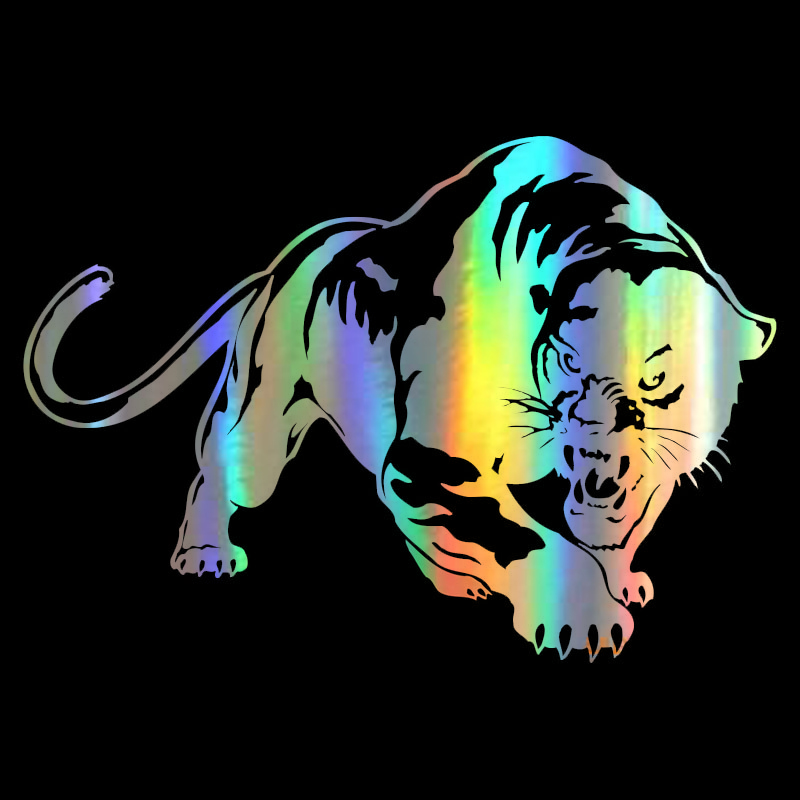 Car Sticker 3D 19.5*13.6cm Fiery Wild Panther Hunting Funny Sticker On Car Stickers and Decals Rear Window Vinyl Car Styling-in Car Stickers from Automobiles & Motorcycles