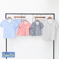 Daddy and Me Pajamas Family Matching Clothes Summer Plaid Luxury Brand Father Son Matching Clothes Family T Shirt+pants Cotton