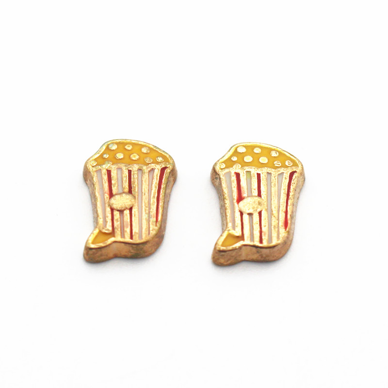 Hot Sale 10pcs/lot Metal Enamel Popcorn Chicken Gold Floating Charms For Living Glass Floating Lockets Necklace Jewelry