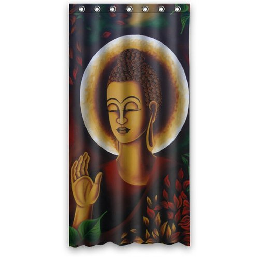 36 X 72 Inch   Lord Buddha Statue Abstract Painting Shower Curtain 100%  Waterproof Polyester