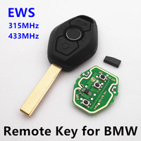 Remote Key With Chip ID44 315MHz 434MHz For BMW Z4 X3 X5 E46 3 Buttons Series