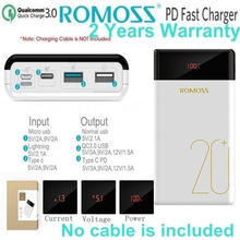 Romoss Quick Charge 3.0 Power Bank 20000mah PD Type C Powerbank QC3.0 9V 12V for iPhone X Xiaomi Huawei Samsung