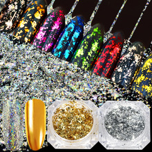 New 3D Boxed DIY Gold Foil Paper Glitter Silver Aluminum Shiny Nail Art Sticker Manicure