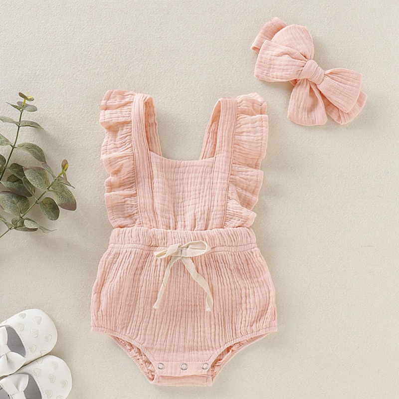 Summer Baby Girl Clothes Newborn Girls Rompers Set Flare Sleeve Solid Print Bowknot Design Bodysuit Jumpsuit With Headband