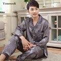 Otoño de Satén de Seda ropa de Dormir Pijamas para Hombres Pijamas de Lujo Chaquetas de Los Hombres Del Sueño Salón Conjuntos de Pijamas de Seda 3XL
