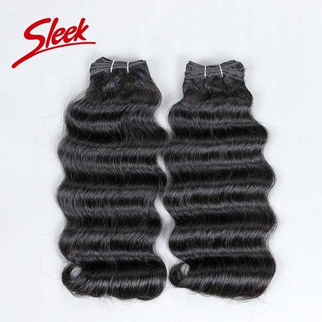 Sleek Brazilian Hair Weave Bundles 2pcs/lot Free Shipping Brazilian Deep Wave 8A Unprocessed Virgin Hair Mink Brazilian Hair
