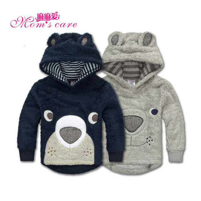 Mom's Care Coral Velvet Outerwears 2-5 Years Lovely Bear Design Boy Girl Winter Coats Children's Clothes