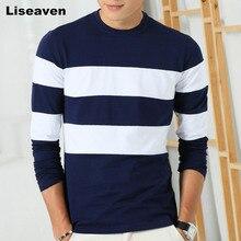 Liseaven 2017 New Autumn Winter Mens Long Sleeve T-Shirt O Neck Striped T Shirt for Men