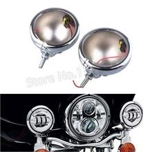 2 Pcs 4.5 inch Motorcycle Fog Lights Housing Black / Chrome LED Fog Lights Mounting Bracket For Harley Street Glide Road King
