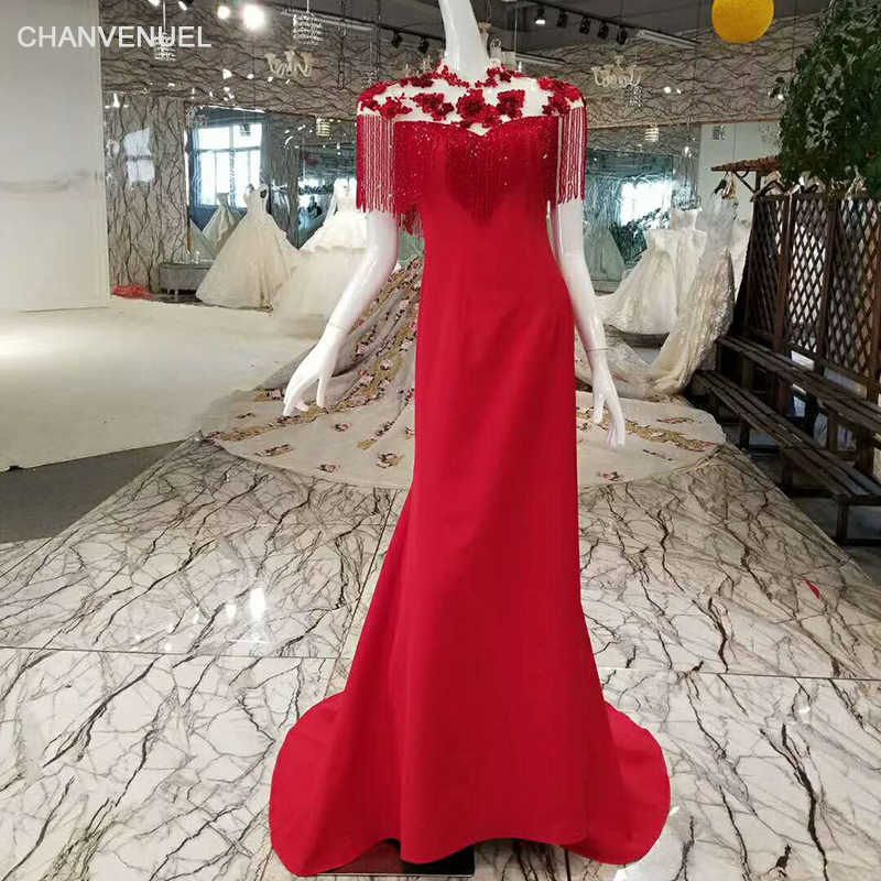 LSS015 2018 new design mermaid evening dress high neck half sleeves red and  black china formal 4a896e7321c4