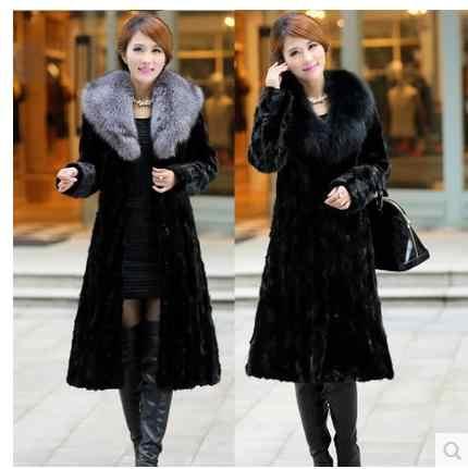 נשים חורף ובסתיו גדול גודל שחור פו שועל פרווה מעילים ארוך סעיף להנמיך צווארון מעשה ידי אדם פרווה מעילי בגדים c26