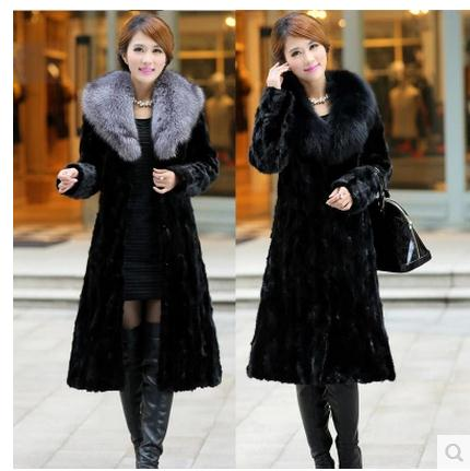 Womens Winter And Autumn Large Size Black Faux Fox Fur Coats Long Section Turn Down Collar