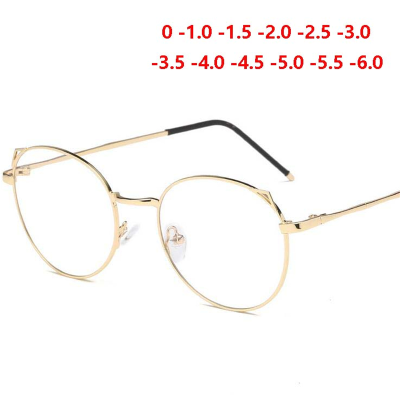 Apparel Accessories -1.0-1.5-2.0 To 6.0 Finished Myopia Glasses Retro Cat Eye Anti-blue Light Short-sighted Nearsighted Glasses Black/gold Frame Price Remains Stable Men's Eyewear Frames