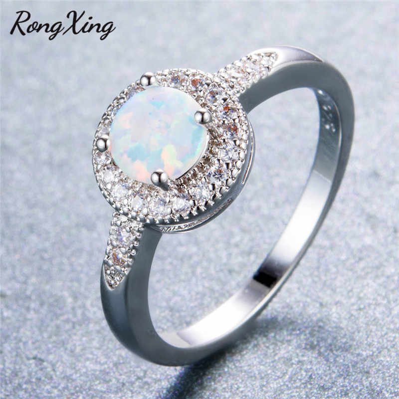 RongXing 925 Sterling Silver Filled White Fire Round Opal Rings for Women Wedding Fashion Jewelry Vintage Four Claw Rings RS0207