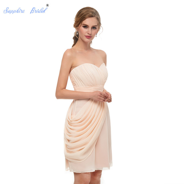 8e7bd8c972a Sapphire Bridal 2019 Short Homecoming Dress Sweetheart Pleated Chiffon  Champagne Short Party Gowns for Juniors Hot Sale