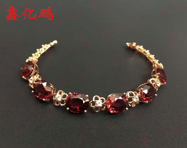 18 k gold inlaid natural garnet bracelet 30.3 carat with natural white sapphire