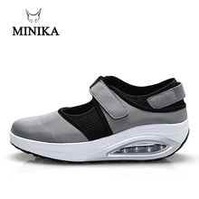 MINIKA Women Sport for Light Up Elderly Swing Wedges Platform zapatos mujer trainers feminino Breathable Toning Shoes Fitness