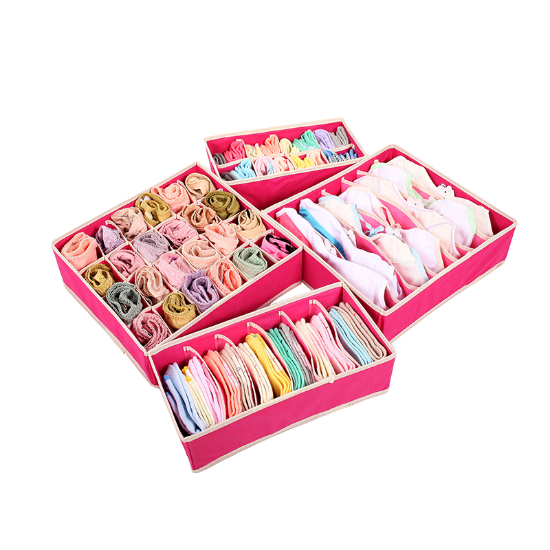 4 pcs/Set Foldable Divider Storage Bra Box Non-woven Fabric Folding Cases Necktie Socks Underwear Clothing Organizer Container