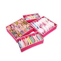 4 unids/set caja de sujetador de almacenamiento divisor plegable fundas plegables de tela no tejida calcetines de corbata ropa interior organizador contenedor