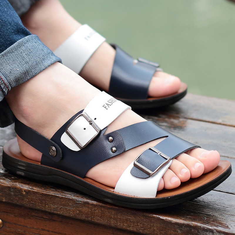 Mans footwear mixed colors metal decoration fashion male sandals leisure style men sandals leather 2018 new arrival