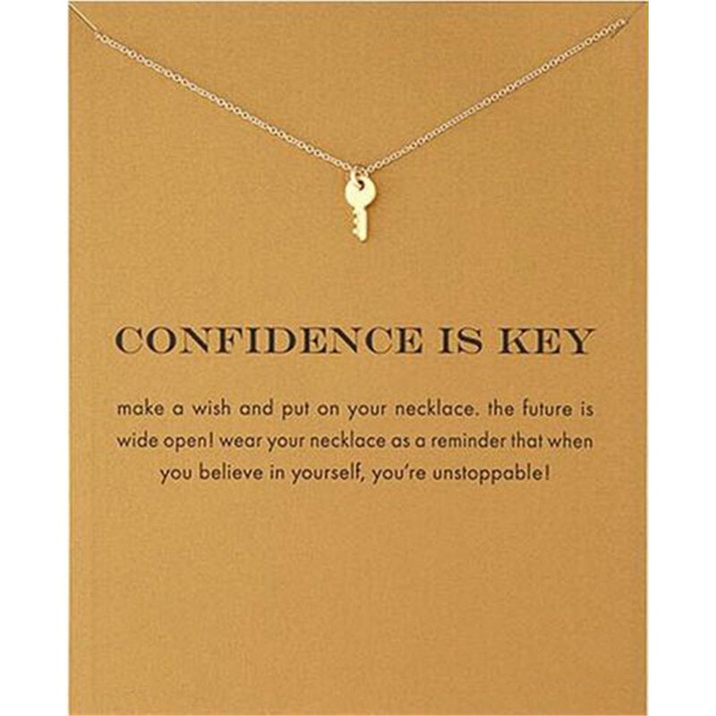 2018 New Golden Key Pendant Short Chain Choker Necklace For Women wish necklace with card Jewelry As gift CONFIDENCE IS KEY|Pendant Necklaces| - AliExpress