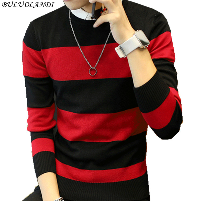 Hot sale men's sweater 2017 Spring Autumn new students South Korean Slim youth striped sweater red and black two colors M-XXL