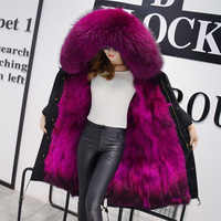 New Arrival Fur Parka 2017 Brand Long Women Winter Coat Real Raccoon Fur Jacket Luxury Large Detachable Collar Parka Femme XXXL