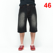 цена на Baggy Jeans Men Denim Calf-Length Pants Loose Streetwear Jeans Casual Summer Skateboard Pants for Men Big Size Trousers HN15