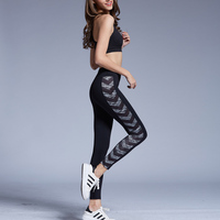 Mode Sexy de Femmes Leggings Fitness Workout Pantalon Rayé Impression Crayon Pantalon À séchage Rapide Mince Élastique Sportives Leggings