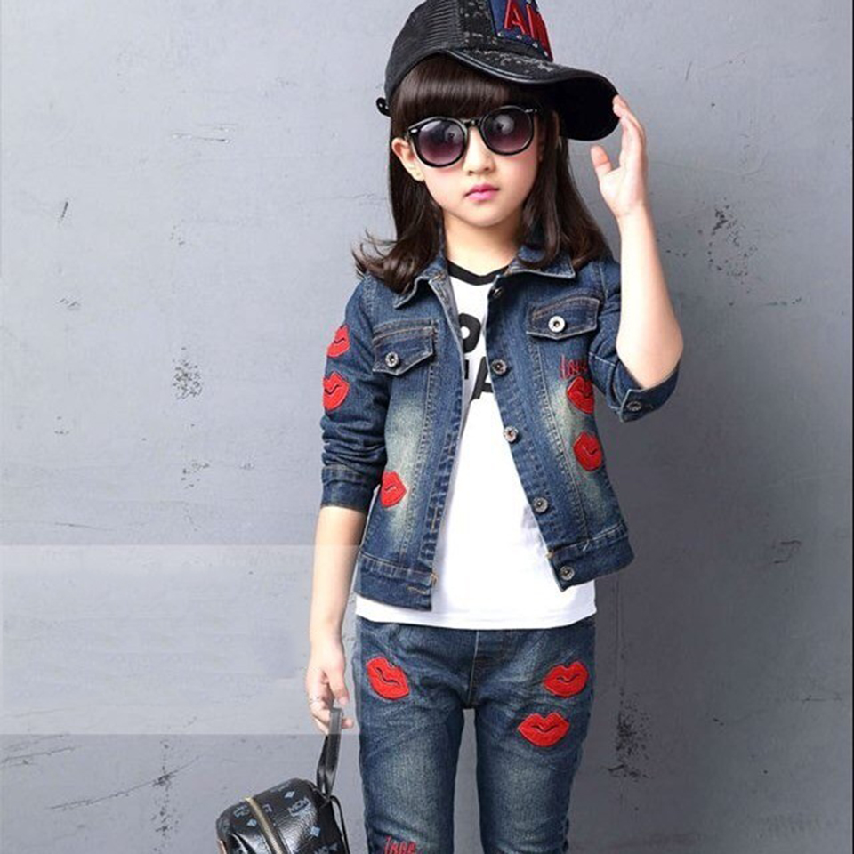 3T 4 6 8 10 12 Yrs Spring Kids Clothes Girl Sets Children Fashion 2 Pcs Suit Jackets Coat Tops+Pants Baby Set Girls Cool Suit krasota 2311 intimnyy stayling html