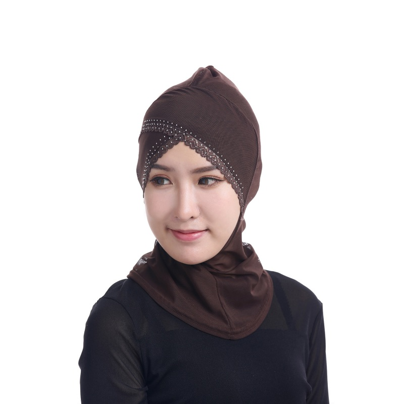 Womens Face-lift Muslim Hijab Ninja Single Cross Hot Drilling Lace Underscarf Head Islamic Cover Bonnet Hat Cap Scarf Y4