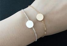 0.6″ Disc Pendent Silver Bracelet Engraved Words Customized Female Bracelets Christmas Birthday Gift