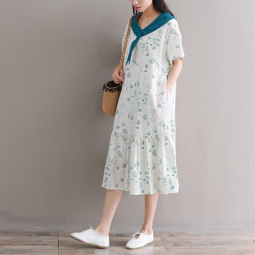 Robe Imprimer Lin Style Femmes Preppy Et De Color Coton Vêtements Artistique 2018 Midi D'été Mori Photo Fille Lâche xwI80nqBF