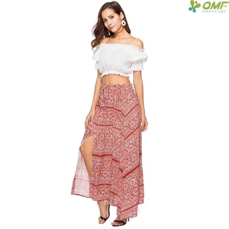 7f696b6316cc Plus Size Floral Boho Skirt Women Asymmetrical Vintage Skirts Side Slit  Bohemian Maxi Skirt Elastic Waist Causal Beach Skirts-in Skirts from  Women's ...