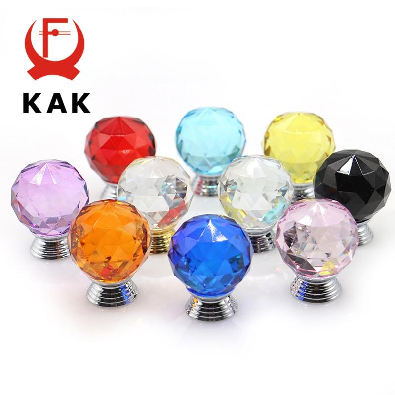 KAK 30mm Crystal Glass Knobs Cabinet Handles Colorful Crystal Ball Cupboard Pulls Drawer Knobs Kitchen Furniture Handle Hardware