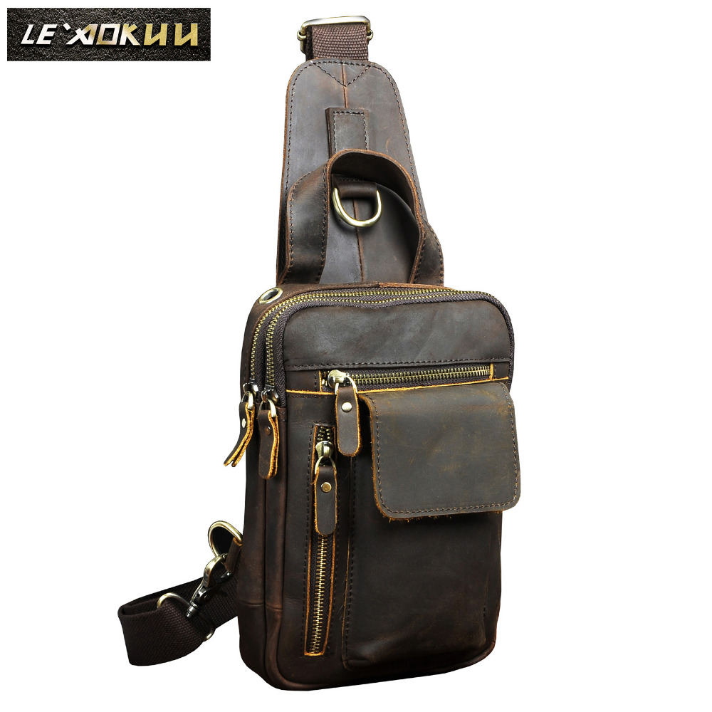 Men Quality Leather Fashion Casual Chest Sling Bag Brown 8 Tablet Water Design Travel Daypack One