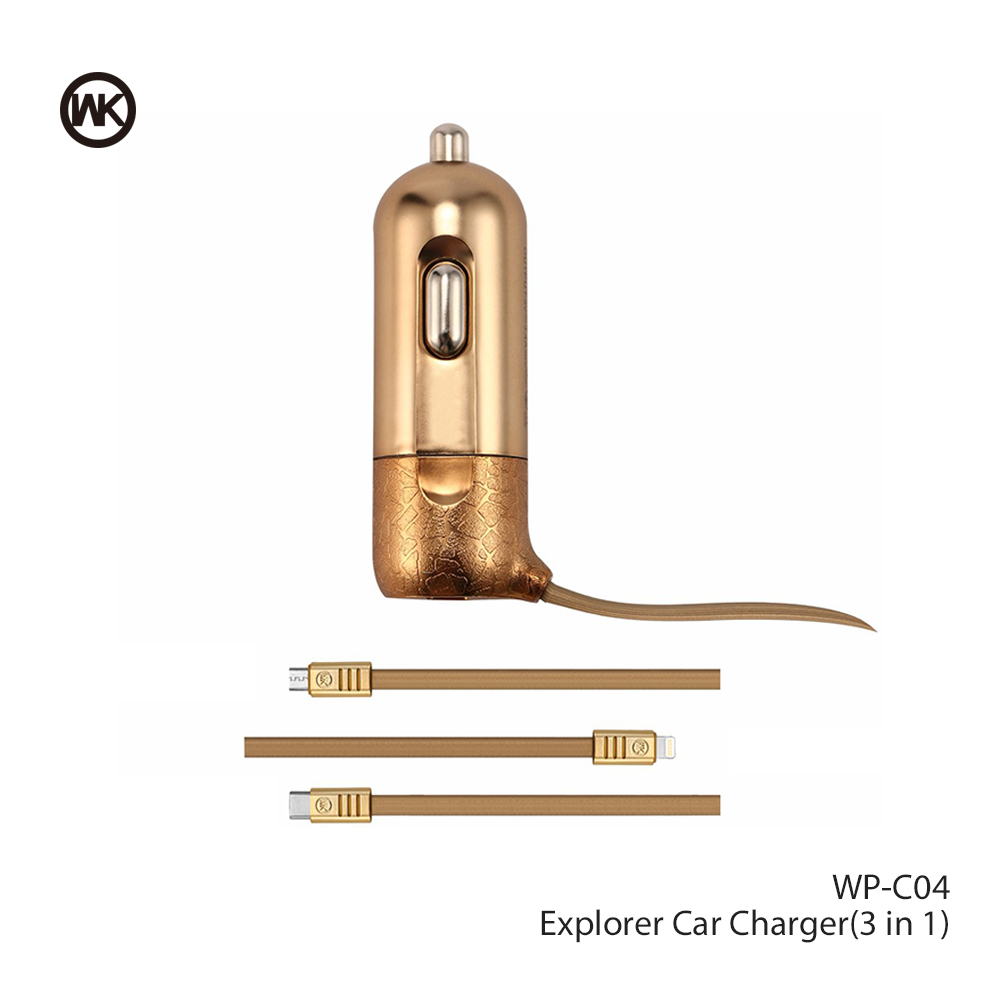 WK DESIGN Fast USB Car Charger For iPhone X 7 8 Phone Car-charger With Micro USB Type C Lighting Cable For Samsung S9 S8 Plus