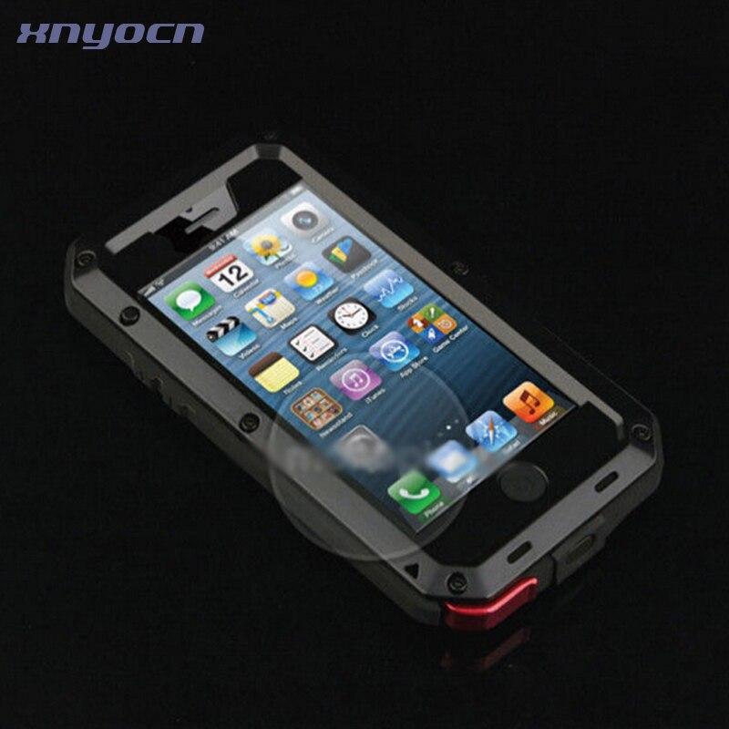 Цена за Лидер продаж Три proofings Водонепроницаемый противоударный пылезащитный сталинита металлический чехол для iPhone5 5S SE 6 6 S 7 Plus