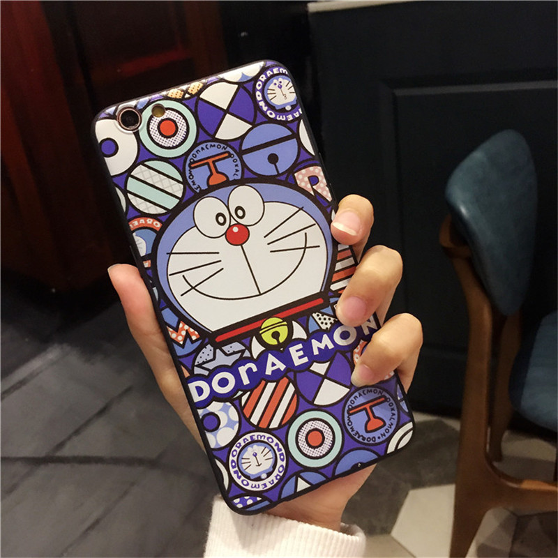100 pcs Wholesale Cartoon Anime Doraemon Cute Case For iPhone 6 6s 6plus 6s Plus 7 7plus Cases Capinha Coque TPU Silicone Cover