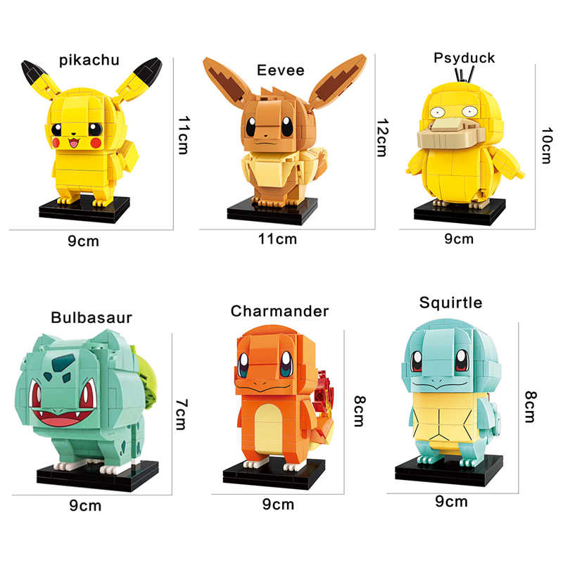 compatible legoinglys Pikachu detective Pocket Monster Eevee,Charmander,Squirtle construction Building blocks kids toys gift