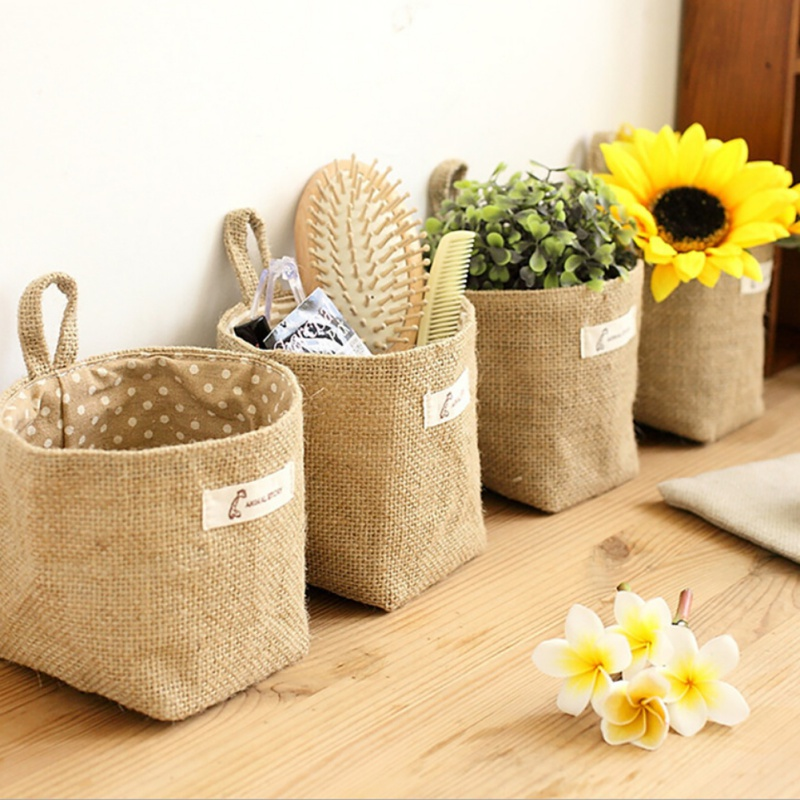 Storage Baskets Cotton Lining Storage Box Jute Art Home Decor Sundries Basket Mini Desktop Storage Hanging Bags Organizer Замок