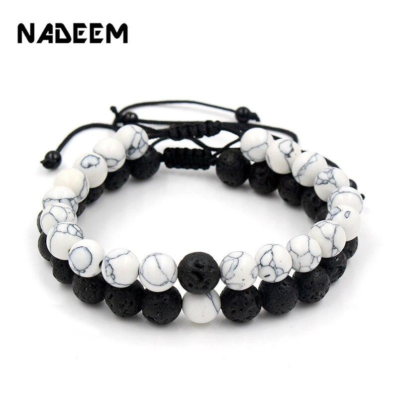 Adjustable 2Pcs/Lot Beaded Bracelets Bangles Set Natural Lava,Howlite Stone White Black Braiding Macrame Bracelet For Women Men