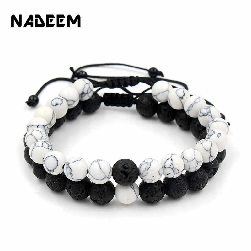 Adjustable 2Pcs/Lot Beaded Bracelets Bangles Set Natural Lava,Howlite Stone White Black Braiding Macrame Bracelet For Women Men