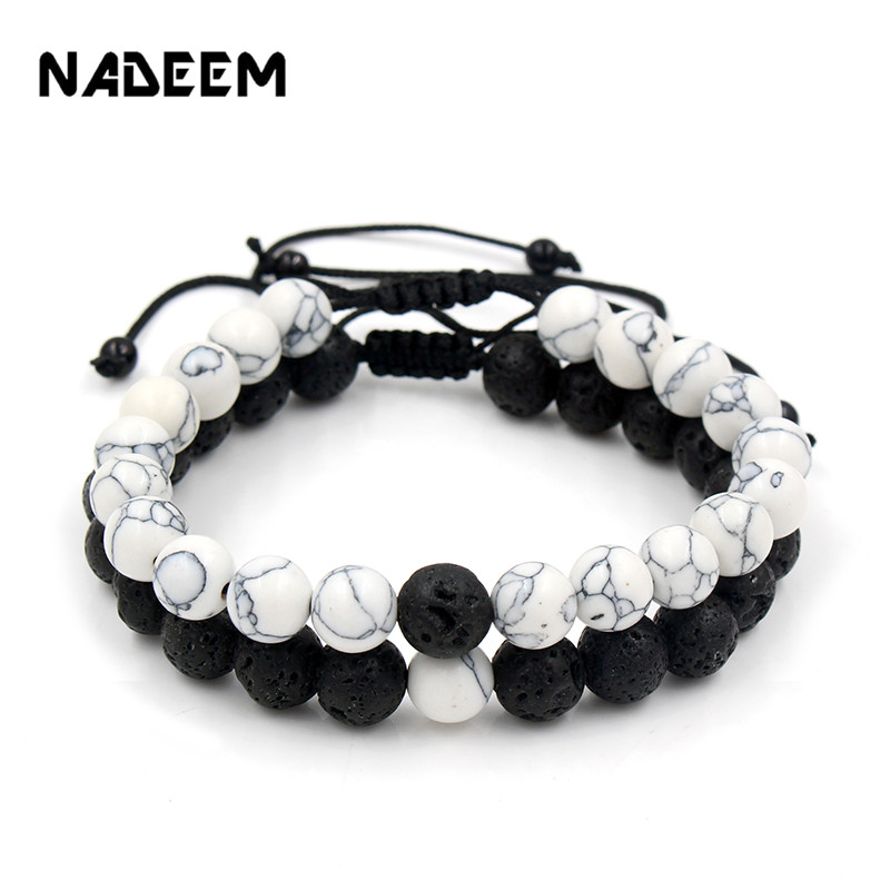 <font><b>Adjustable</b></font> 2Pcs/Lot Beaded <font><b>Bracelets</b></font> Bangles Set Natural Lava,Howlite Stone White Black Braiding Macrame <font><b>Bracelet</b></font> For Women Men image