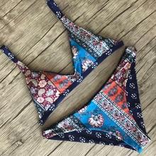 Women Bikini Triangle Vintage Blue Floral